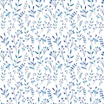 Acuarela pintada de hojas azules.