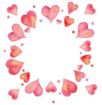 Acuarela pintada a mano con corazones en cálidos colores pastel. para decoraciones de bodas o el día de san valentín