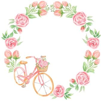 Acuarela pintada a mano con flores de jardín rosa y marco de bicicleta.