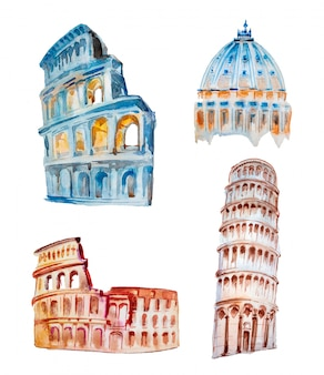 Acuarela pintada a mano ilustración de la arquitectura italiana.