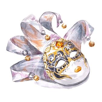 Acuarela pintada a mano máscara de venecia aislado en un blanco
