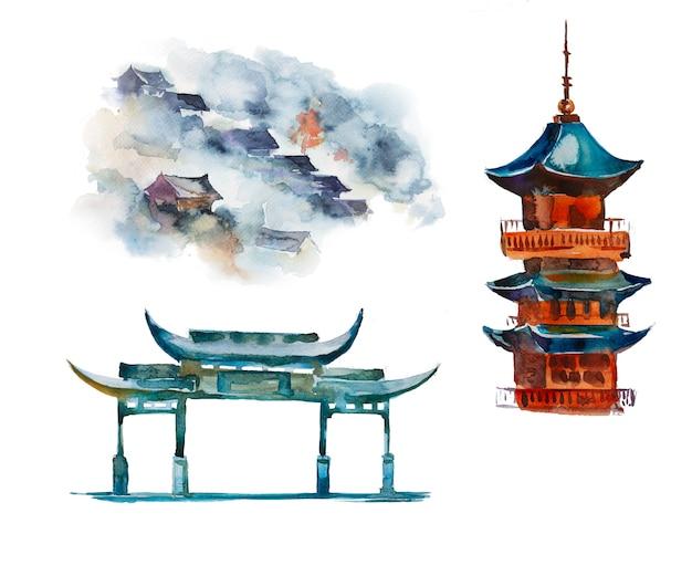 Acuarela pintada a mano pagoda conjunto de imágenes prediseñadas aislado. ilustración de diseño de arquitectura asiática.