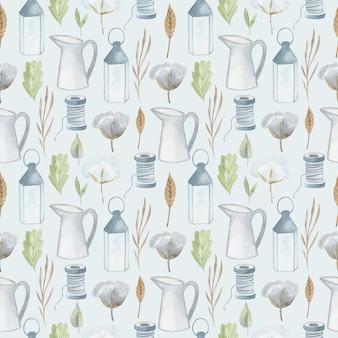 Acuarela pintada a mano de patrones sin fisuras. casa de artículos para el hogar. linda ilustración
