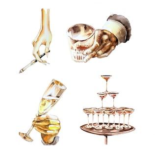 Acuarela pintada a mano retro bebidas conjunto de imágenes prediseñadas.
