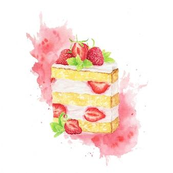 Acuarela rebanada de tarta de fresas con toques rojos aislados en un blanco