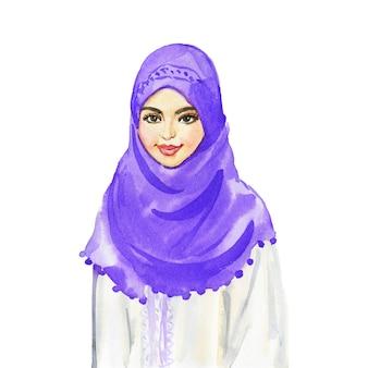 Acuarela retrato de mujer árabe. pintura sonriente jovencita. ilustración dibujada a mano sobre fondo blanco