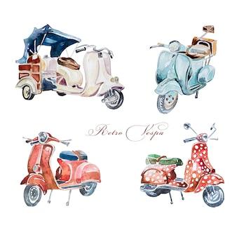 Acuarela retro vespa ilustración imágenes prediseñadas conjunto aislado. diseño de vehículo vintage europeo pintado a mano. entrega retro transporte arte.
