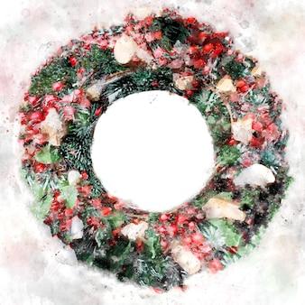 Acuarela de tarjeta de felicitación de feliz navidad y próspero año nuevo. corona de navidad. marco redondo con espacio de copia. diseño de invierno para postal, cartel, portada.