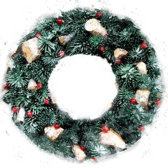 Acuarela de tarjeta de felicitación de feliz navidad y próspero año nuevo. corona de navidad sobre un fondo blanco. marco redondo con espacio de copia. diseño de invierno para postal, cartel, portada.
