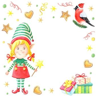 Acuarela tarjeta de navidad con duende niña con varita mágica