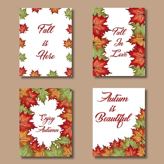 Acuarela tarjetas de otoño con hojas rojas, naranjas, amarillas y verdes