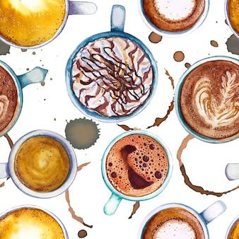 Acuarela taza de café de patrones sin fisuras, vista desde arriba.