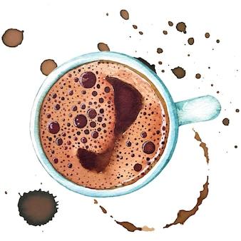 Acuarela taza de café turco, vista superior.