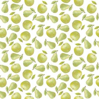 Acuarela transparente de patrón de manzana y pera verde
