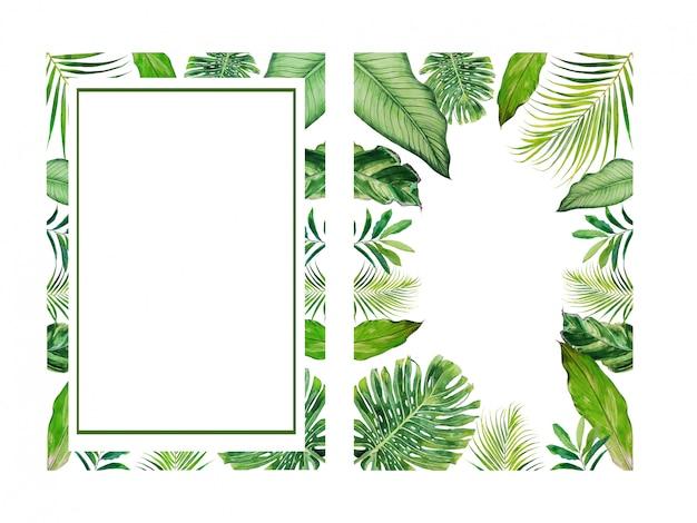 Acuarela tropical deja marco conjunto de imágenes prediseñadas. ilustración de hojas exóticas.