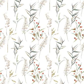 Acuarela verano campo hierbas de patrones sin fisuras. textura pintada a mano con elementos botánicos: plantas, hierba, bayas, helechos, hojas. fondo natural repetitivo