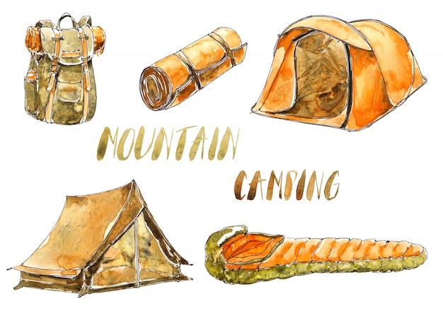 Acuarelas y material de camping.
