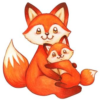 Acuarelas zorros madre e hijo, lindo abrazo