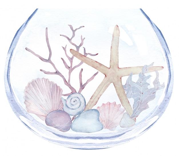 Acuario con piedras, algas, estrellas y conchas marinas. ilustración acuarela de florero con vida submarina.
