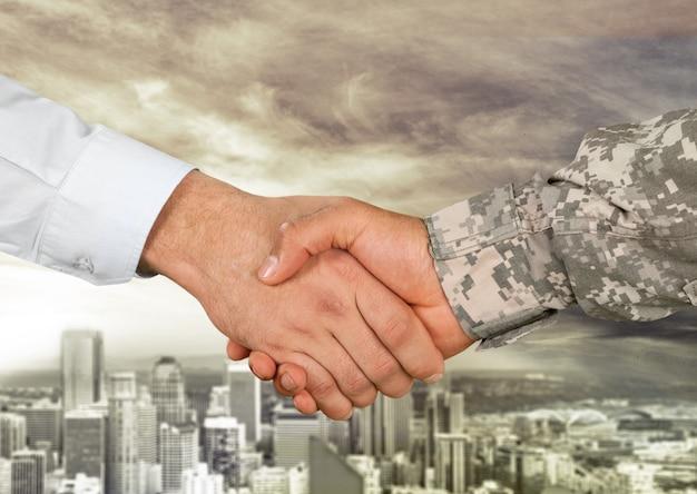 Acuerdo comercial apretón de manos sobre fondo