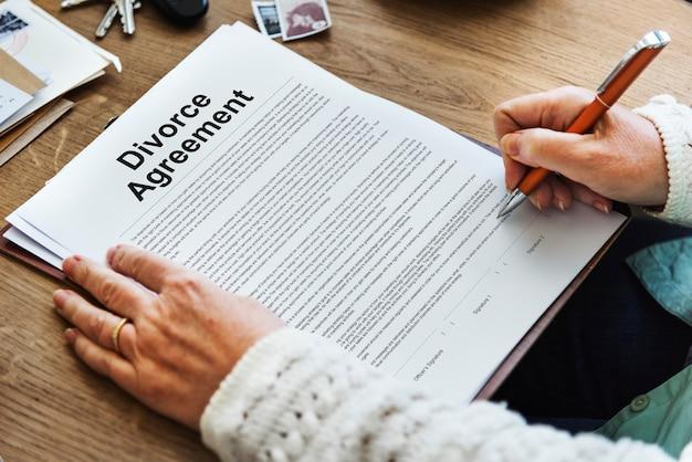 Acuerdo de divorcio decreto documento concepto de ruptura