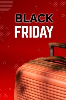 Acuerdo de venta de viernes negro con equipaje de viaje.