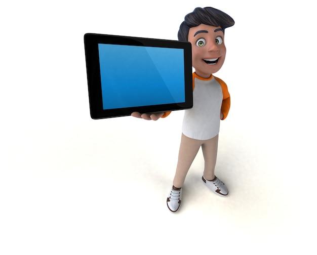 Adolescente asiático de dibujos animados en 3d divertido