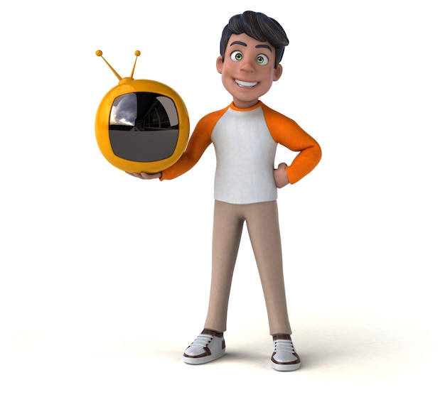Adolescente asiático de dibujos animados divertido