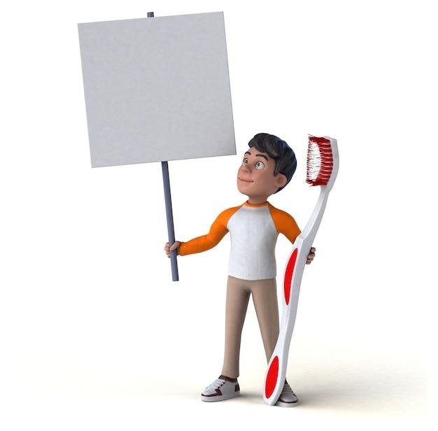 Adolescente asiático de divertidos dibujos animados en 3d con gran cepillo de dientes y banner