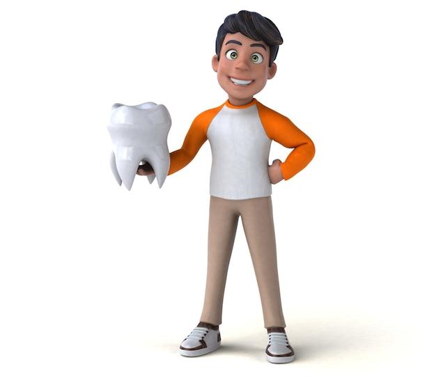Adolescente asiático de divertidos dibujos animados en 3d