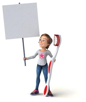 Adolescente de dibujos animados en 3d divertido con un cepillo de dientes