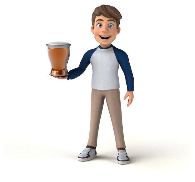 Adolescente divertido personaje de dibujos animados 3d