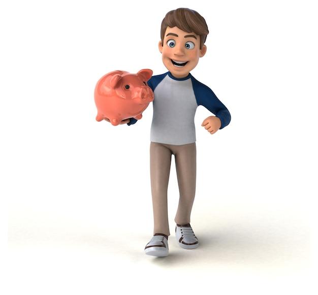 Adolescente divertido personaje de dibujos animados en 3d