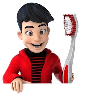 Adolescente de divertidos dibujos animados en 3d con un cepillo de dientes