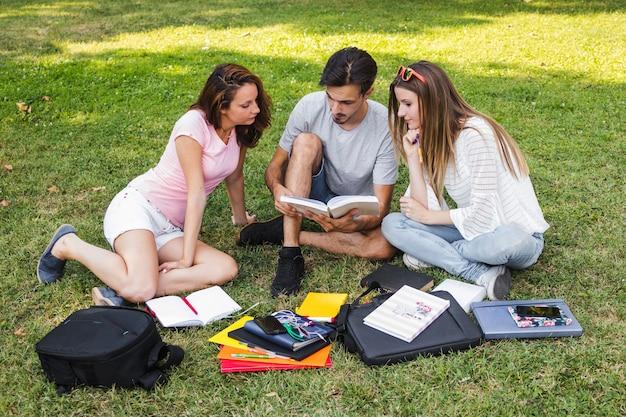 Adolescentes estudiando libro de texto juntos