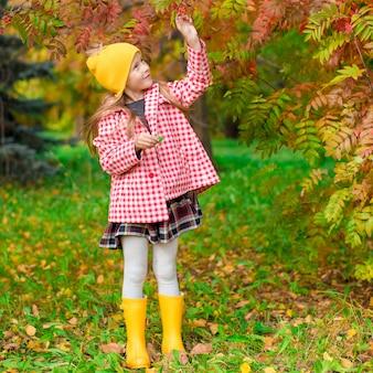 Adorable niña en el hermoso día de otoño al aire libre