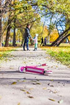 Adorable niña con padre feliz caminando en el parque otoño en un día soleado