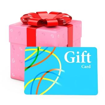 Adornado con caja de regalo de papel de corazones con tarjeta de regalo sobre un fondo blanco. representación 3d.