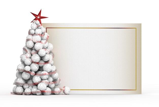 Adornos navideños con cartel.