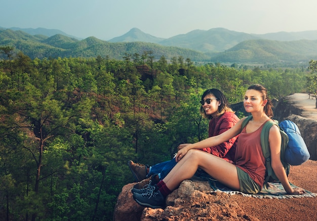 Adventure backpacker camping traveller concept