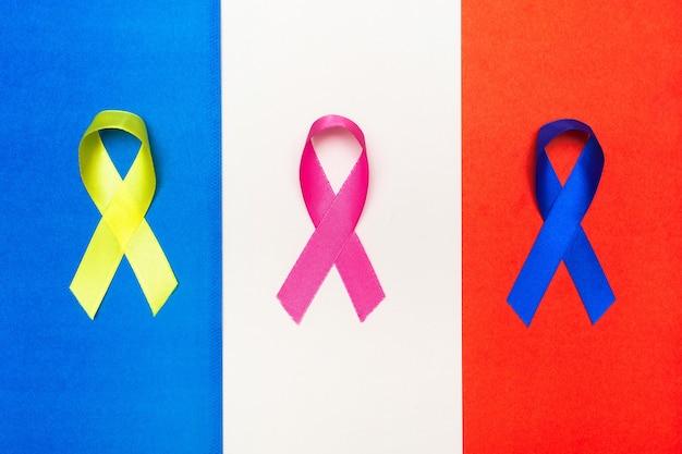 Agencia internacional para la investigación sobre el cáncer. fondo del día mundial del cáncer. cintas de colores, concienciación sobre el cáncer.