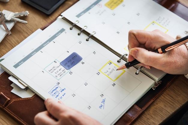 Agenda memo diario para hacer el concepto de lista