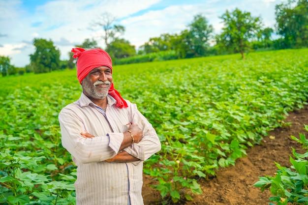 Agricultor indio en campo de algodón