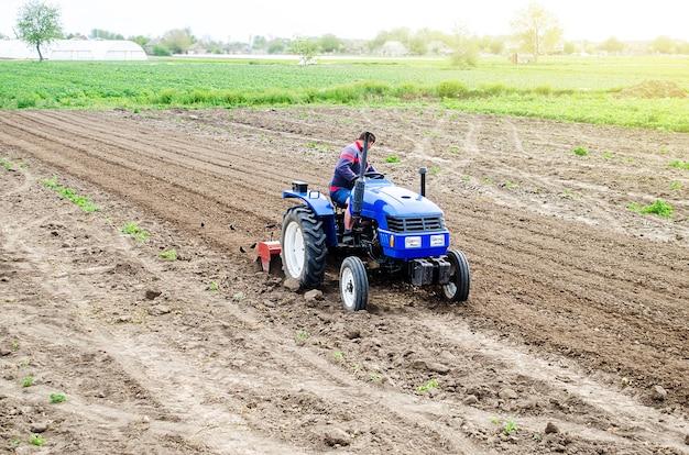 Un agricultor en un tractor cultiva un campo agrícola molienda de suelo desmoronando y mezclando agroindustria agricultura