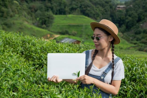 Agricultores sosteniendo una pizarra blanca en la plantación de té