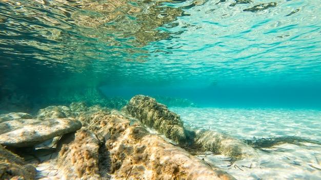 Agua azul transparente de un mar cerca de la costa, vista bajo el agua, rocas con musgo