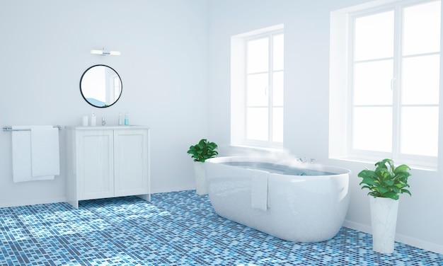 Agua tibia en un baño azul y blanco