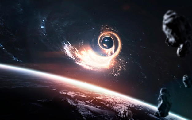 Agujero de gusano en el espacio profundo.