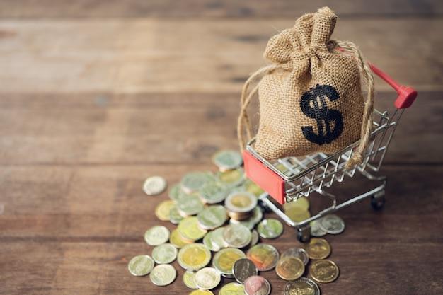 Ahorrar dinero concepto de recoger monedas (dinero tailandés) en un carrito de compras en la naturaleza
