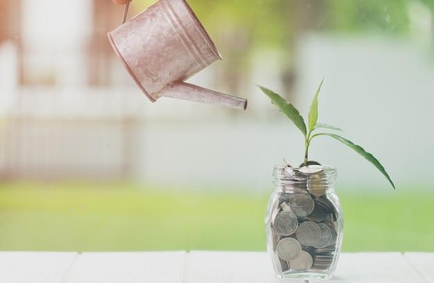 Ahorro de dinero e inversión financiera, ahorro y hacer dinero concepto.